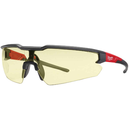 Milwaukee Red & Black Frame Safety Glasses with Yellow Anti-Scratch Lenses