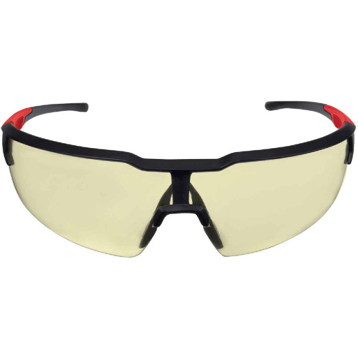 Milwaukee Red & Black Frame Safety Glasses with Yellow Fog-Free Lenses