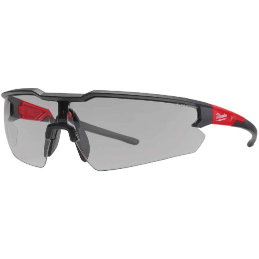 Milwaukee Red & Black Frame Safety Glasses with Gray Anti-Scratch Lenses